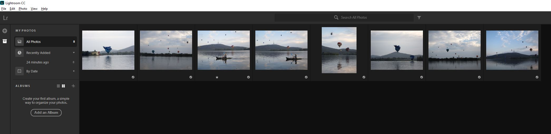 Lightroom cc interface