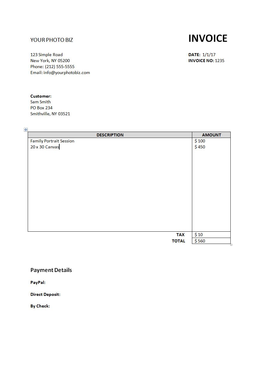 simple invoice template � biblino